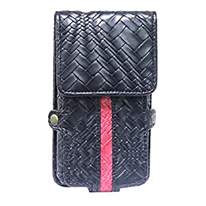 Jo Jo A6 Bali Series Leather Pouch Holster Case For Celkon A900 Black Red