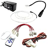 Professional LED Light Strip Kit - Warm White (3000K) 3528 LEDs 16.4 Feet With Power Supply, Remote Dimmer & Connectors - LED Tape Light for Kitchens, Bathrooms, Cabinets, Displays & More.