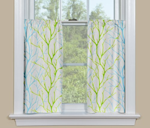 Contempo Curtains Alberi Blue Green Tree Branch Kitchen Tiers Cafe