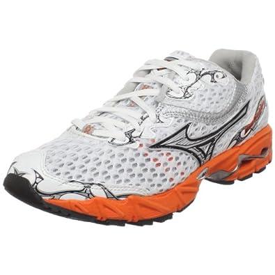 Mizuno Women's Wave Precision 11 Running Shoe,White/Silver-Red Orange,7.5 M US