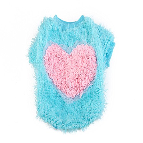 Haogo Pet Puppy Small Dog Pet Corn Pullovers Sweater Heart Style Clothes Apparel Blue XL (Corn Dog Clothing compare prices)