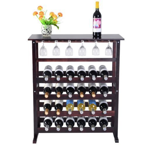 Wood Wine Holder - 24 Bottle Wood Wine Rack Holder Storage Shelf Display w/ Glass Hanger Wine Bottle Holder by Brand New (Wooden Wine Rack Free Standing compare prices)