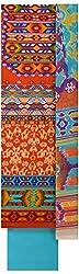 Threads Women's Cotton Dress Material (Th7036_Brick Orange And Blue)