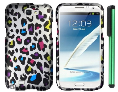 Buy  Colorful Leopard On Silver Premium Design Protector Hard Cover Case for Samsung Galaxy Note II N7100 (AT&T, Verizon, T-Mobile, Sprint, U.S. Cellular) Android Smart Phone + Combination 1 of New Metal Stylus Touch Screen Pen (4