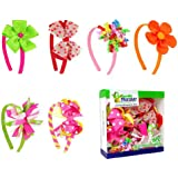 Bundle Monster Interchangeable Mix+Match 3in1 Ribbon Flowers Bows Baby Hair Clips Headbands Combo-Set 2, Bright and Beautiful