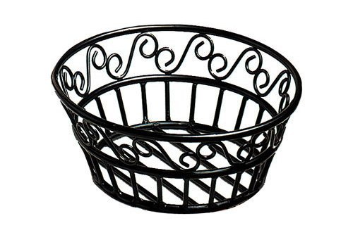 American Metalcraft BLSB80 Wrought Iron Scroll Design Round Bread Basket, 8-Inch, Black (Wrought Iron Bread Basket compare prices)