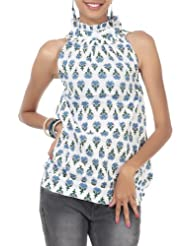 Rajrang Cotton Blue, White Screen Printed Tunic Top Size: L - B00AXY02BK