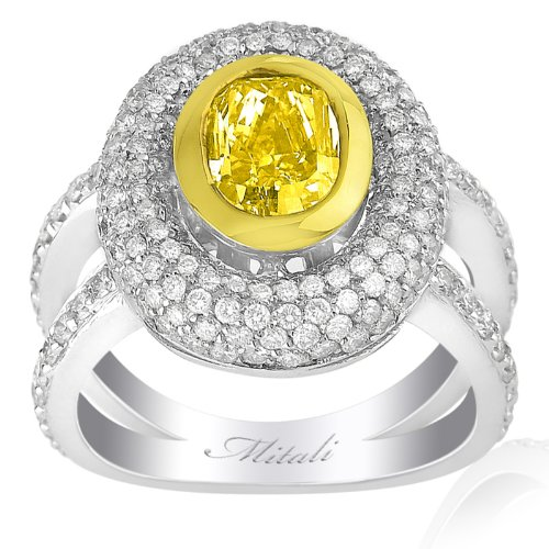 18K Two Tone Gold Gia Certified 3.65Cttw Fancy Yellow Oval Diamond Ring