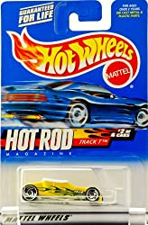 2000 - Mattel - Hot Wheels - Hot Rod Magazine #2 of 4 - Track T (Yellow) Green Flames / Wayne's Body Shop Graphics - White Interior - Custom Wheels - New - Out of Production - Limited Edition - Collectible