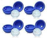 4 Pack Uhome Azul Estrella de la Muerte Esfera bandeja bola de hielo - Star War Flexible Bola de hielo Esfera redonda Maker para facilitar la extracci