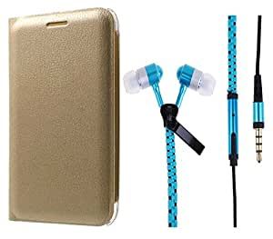 Novo Style Oppo Neo 5 Premium PU Leather Quality Golden Flip Cover+ Zipper Earphones/Hands free With Mic 3.5mm jack