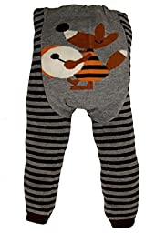 Dotty Fish Baby Boys\' Wooly leggings 12-24 months Brown and Grey Stripe Fox