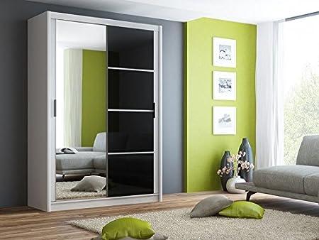 Wardrobe Sliding Door Mirror BRANDON White / Black - 4.9Ft / 150cm Width