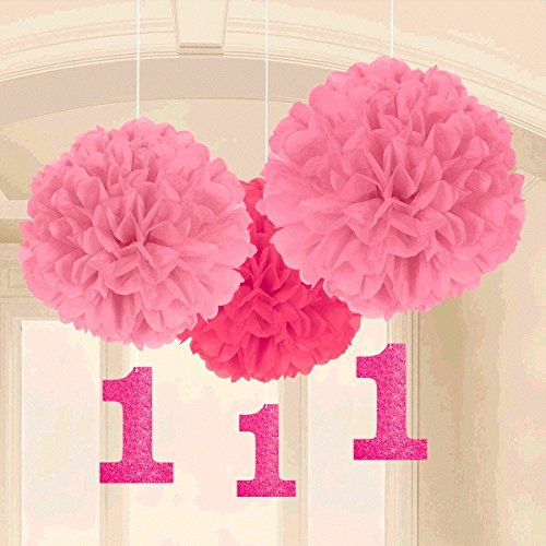 Amscan 1st Birthday Fluffy Decorations with Danglers, Large, Pink - 1