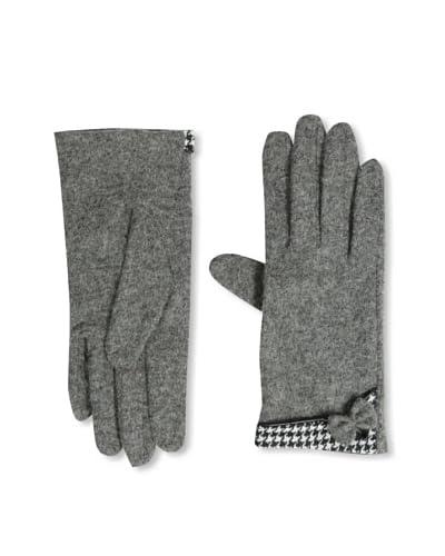 Sarajane Women's Houndstooth Trim Gloves, Grey