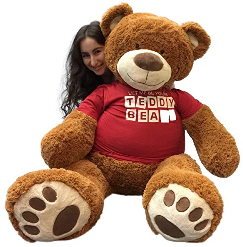 Big-Plush-5-Foot-Giant-Teddy-Bear-Wearing-LET-ME-BE-YOUR-TEDDY-BEAR-T-shirt-60-Inches-Soft-Cinnamon-Brown-Color-Huge-Teddybear