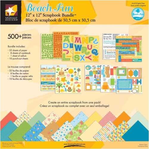 American Traditional 12 Inch by 12 Inch Scrapbook Bundle Kit, Beach Fun
