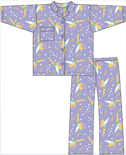 Girls Disney Tinkerbell Character Cotton Wyncette PYJAMAS pajama Nightwear. To Fit Ages 3-4 / 5-6 / 7-8 / 9-10 Years