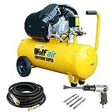 Wolf 10BAR Cheyenne 50L 3HP 14CFM 230v Air Compressor +10m Hose + Air Chisel