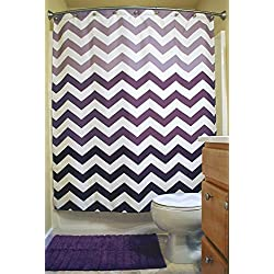 "DII Oceanique Shower Curtain 100% Polyester, Machine Washable, for Everyday Use, Kids, Teens, Extra Bathroom, Main Bathroom 72x72"" , Eggplant Ombre Chevron"
