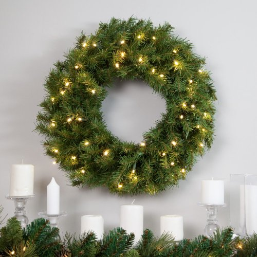 National Tree Norwood Fir Wreath With 50 Warm White Battery Operated Led Lights With Timer, 24-Inch