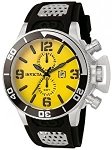 Invicta Men's Quartz Watch with Yellow Dial Analogue Display and Black PU Strap 758