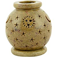Origin Crafts Stone Tealight Candle Holders - 8 Cm X 8 Cm X 11 Cm, Natural Stone