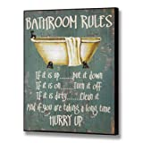 Bathroom Rules - Ifs its up -put it down , if its on- turn it off , If its dirty - Clean it , And if your taking too long- HURRY UP ! Toilet and bathroom wooden plaque sign with roll top bath green sign