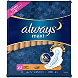 Always Maxi Pads Overnight W/Flexi-Wings Unscented, 33 Count