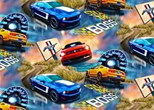 Fleece Ford Mustang Cars Allover Fleece Fabric Print by the Yard