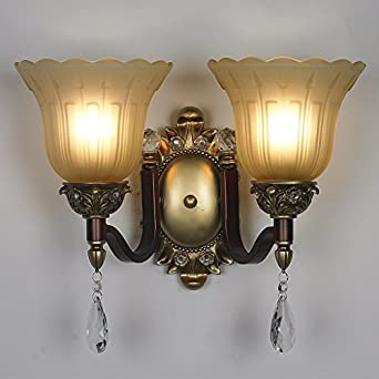 Antique Bedroom Wall Sconces : CRF Double bedroom antique wrought iron wall lamp crystal lighting two lamps - - Amazon.com