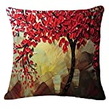 Oil Painting Black Large Tree and Flower Birds Cotton Linen Throw Pillow Case Cushion Cover Home Sofa Decorative 18 X 18 Inch (Red Leaves)