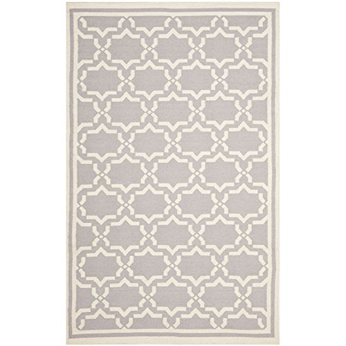 Safavieh Dhurries Collection DHU545G Hand Woven Grey and Ivory Wool Area Rug, 9 feet by 12 feet (9' x 12')