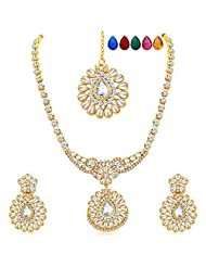 Sukkhi Appealing Gold Plated AD Necklace Set With Set Of 5 Changeable Stone For Women