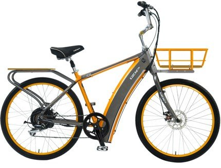 Izip E3 Metro 36 Volt Lithium Ion Electric Bicycle - Men's Frame - Dark Grey / Orange