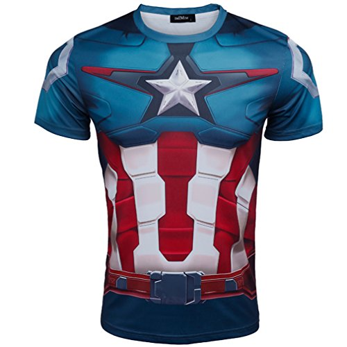 Cos-me The Avengers 2 Cosplay Captain America T-shirt for Men Costume