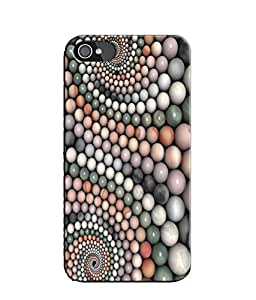 EU4IA Pearls Pattern MATTE FINISH 3D Back Cover Case For iPhone 4s - D277