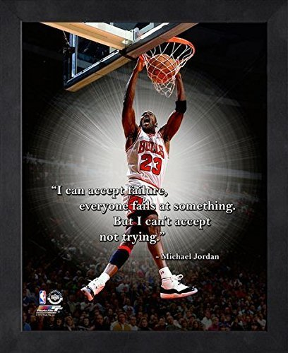 Michael Jordan Framed ProQuote - I can accept failure, everyone fails Photo by Photo File (Framed Motivational Pictures compare prices)