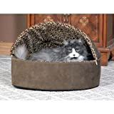 K & H Plush, Comfy Deluxe Leopard cover Thermo Kitty Bed - Small /Mocha