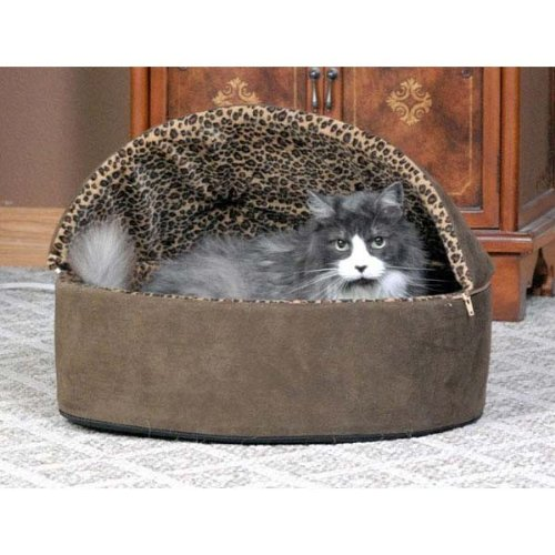 K & H Plush, Comfy Deluxe Leopard cover Thermo Kitty Bed - L