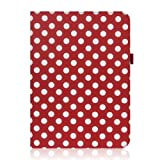 Sanheshun Polka Dots Leather Case Protect Stand Compatible with Samsung Galaxy Tab 3 10.1 P5200 P5210 Color Red