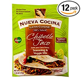 Nueva Cocina Beef Seasoning, Chipotle Taco, 1.25-Ounce Packets (Pack of 12)