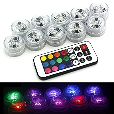 HOAEY 10pcs Remote Controlled Waterproof Mini LED Tea Light with battery for Wedding Decor Submersible Party Submersible Candle for Christmas Halloween