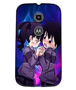 Fuson Love Couple Back Case Cover for MOTOROLA MOTO E2 - D3782