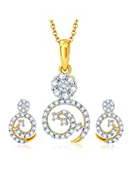 Sukkhi Alluring Gold And Rhodium Plated CZ Pendant Set