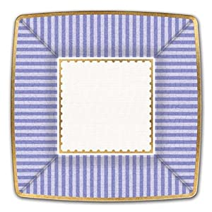 Michel Design Works Luncheon Square Paper Plates, Party Purple, 8 Count