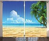 """デジタル印刷カーテン寝室リビングKids Youth部屋2つのパネルカーテンセット 108"""" W By 84"""" L p_13793_Palm_Beach_108x84_fba"""