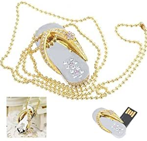 Panda Crystal Diamond Slipper Jewelry USB Flash Drive with Necklace:8GB