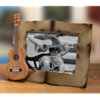Acoustic String Guitar Picture Frame with Sheet Music Like Border -- Holds a 4