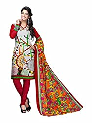 KG fashion printed cotton white dress material